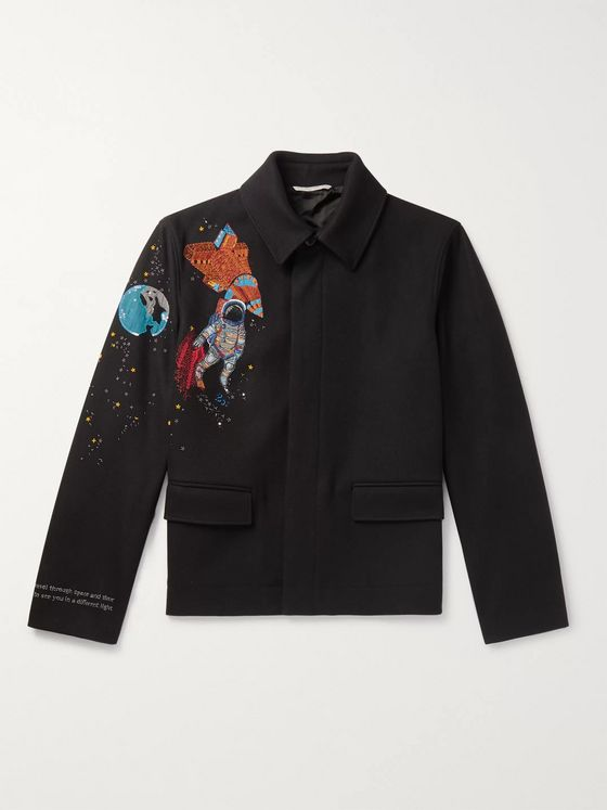 Valentino Slim-Fit Embroidered Embellished Wool-Felt Jacket
