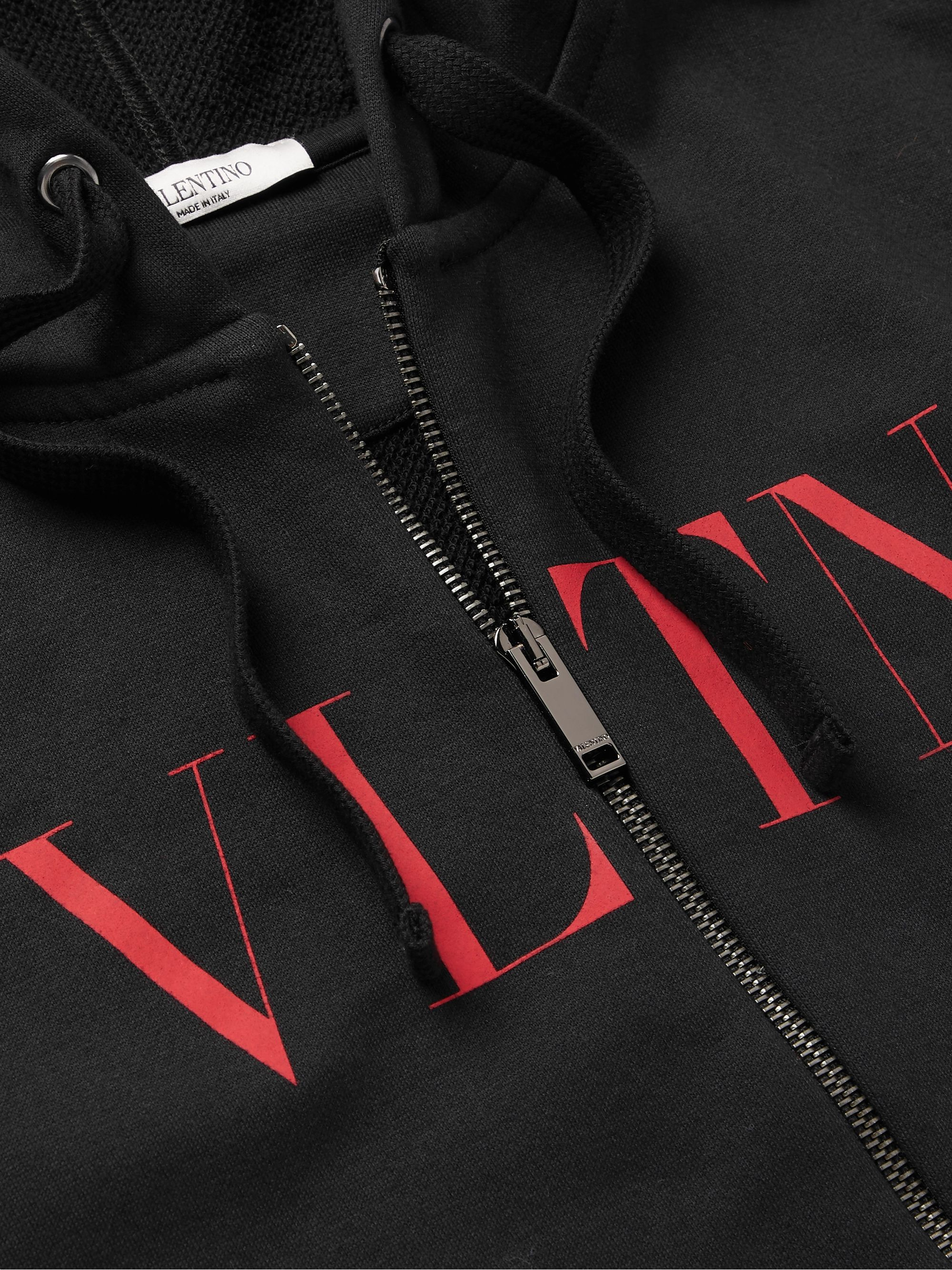 Valentino Logo-Print Loopback Cotton-Blend Jersey Zip-Up Hoodie