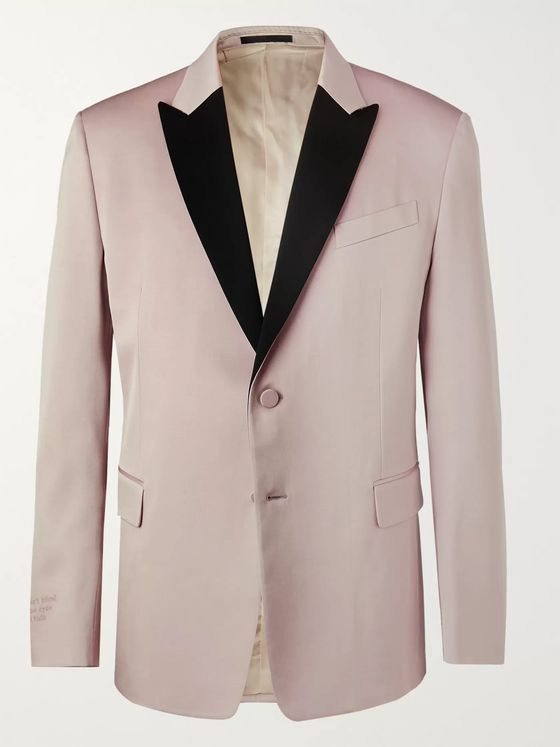 Valentino Light-Pink Embroidered Satin-Trimmed Wool-Blend Tuxedo Jacket
