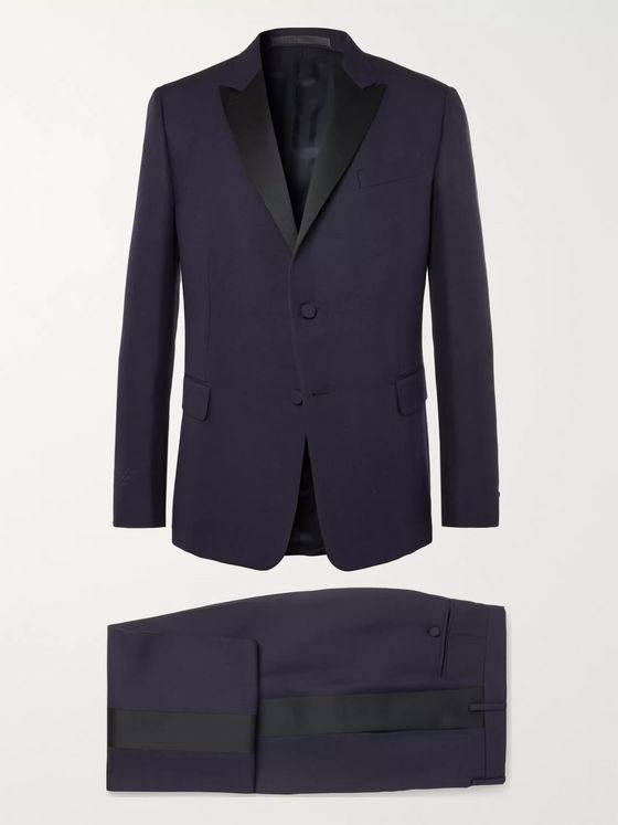 Valentino Satin-Trimmed Embroidered Silk-Shantung Tuxedo