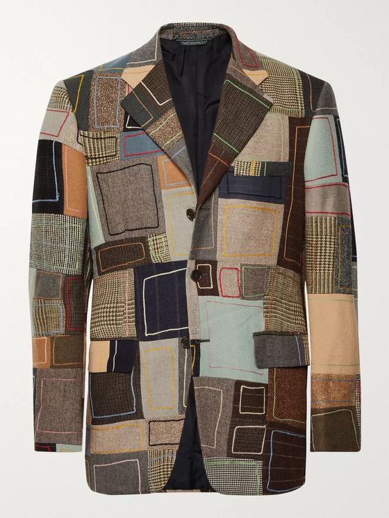 BODE Embroidered Patchwork Wool Blazer