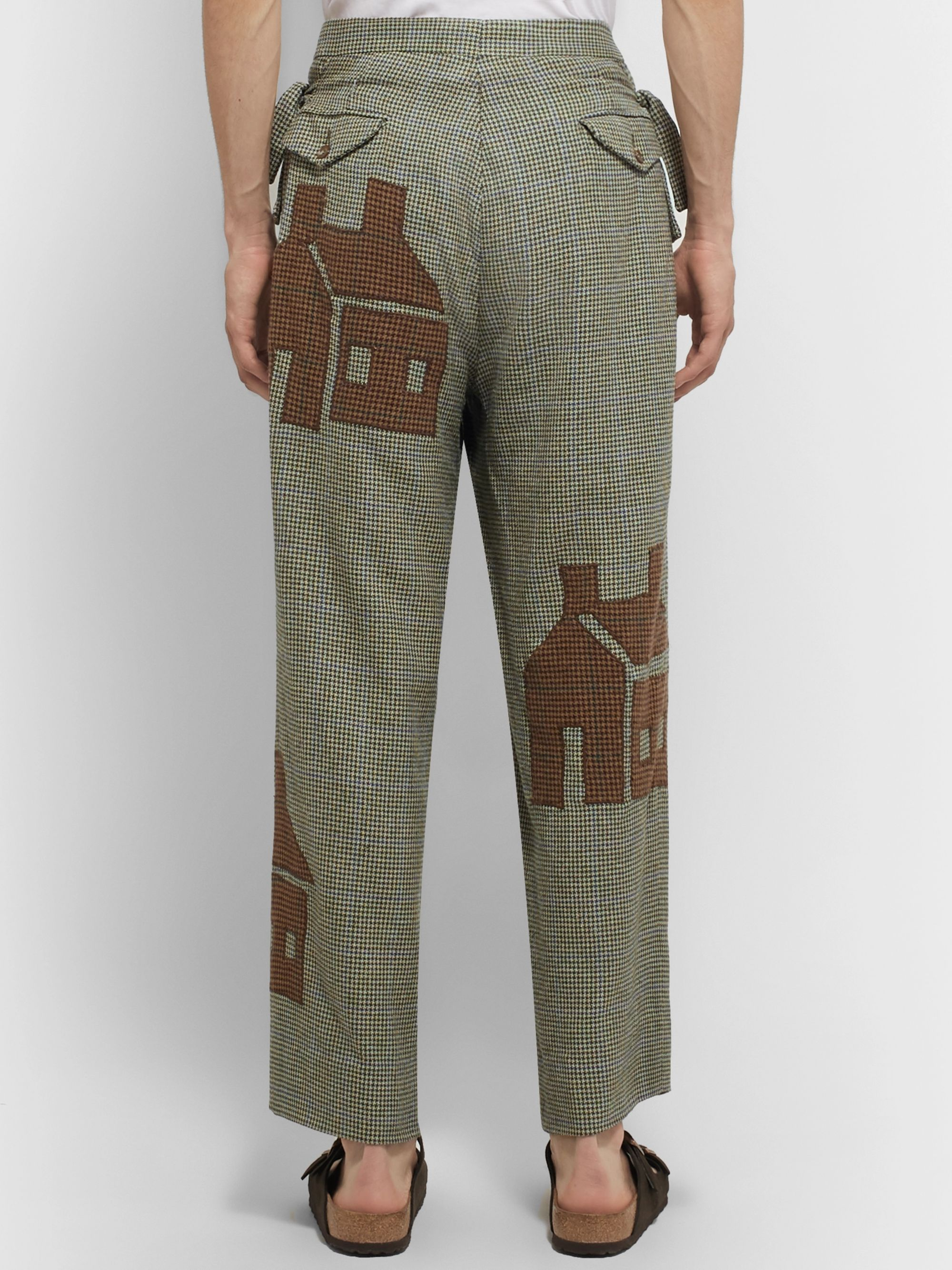 BODE Wide-Leg Appliquéd Houndstooth Wool Trousers