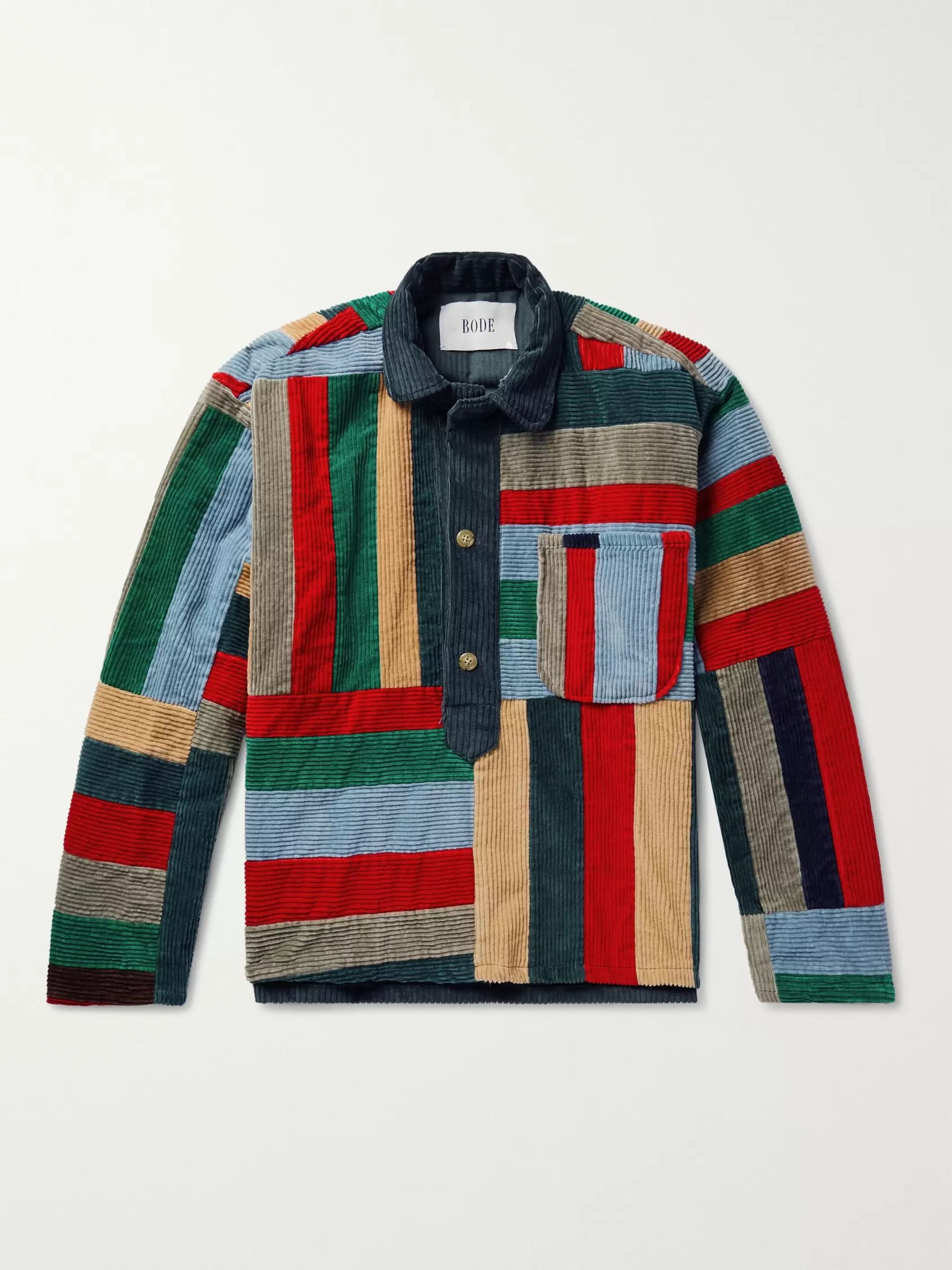 Patchwork Wool Corduroy Overshirt by Bode