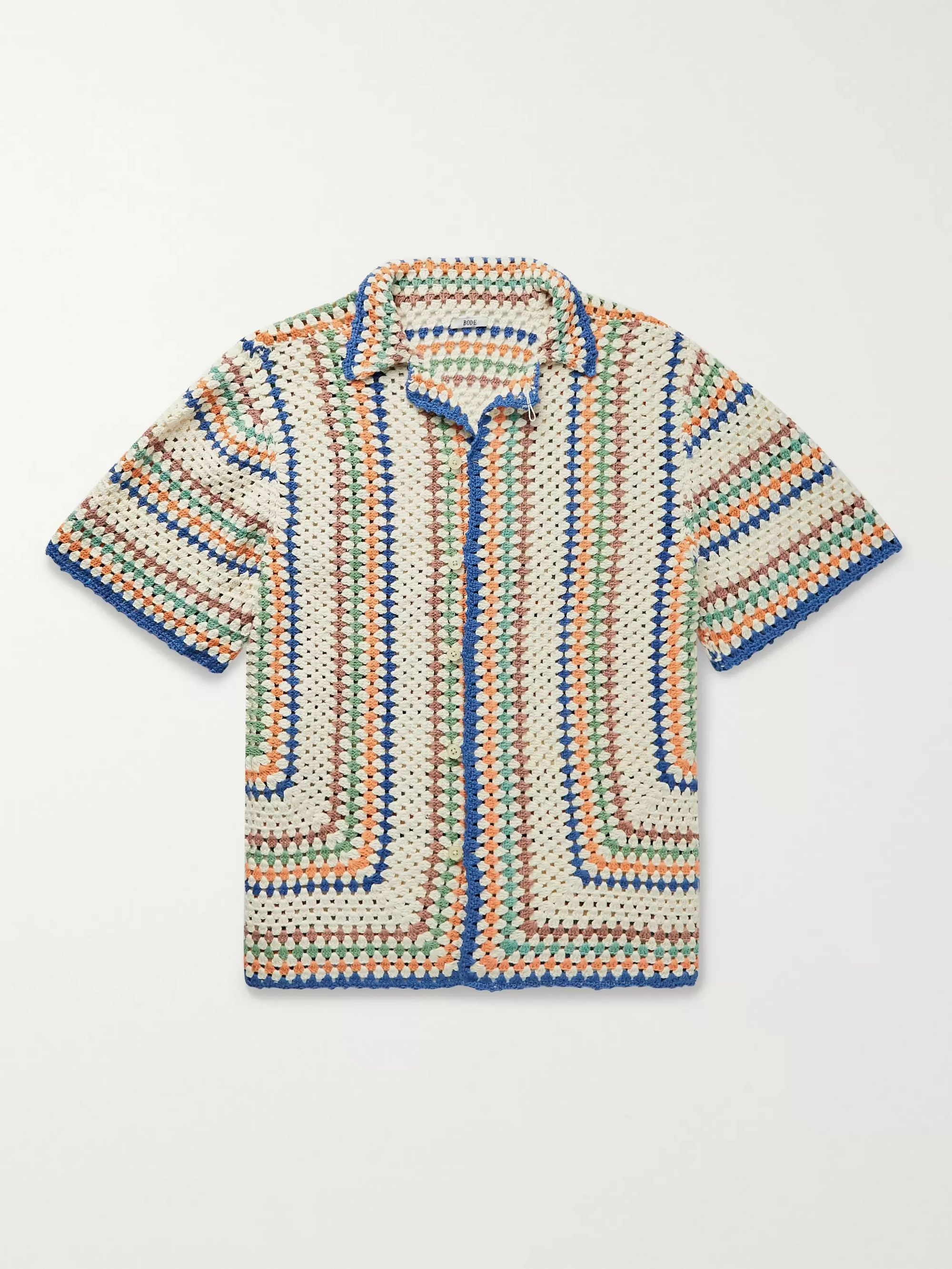 BODE Crochet-Knit Cotton Overshirt