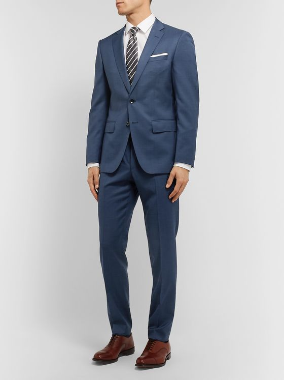 Hugo Boss Blue Virgin Wool Suit Jacket