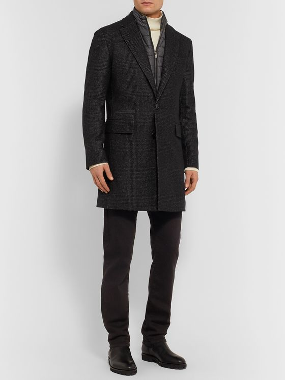 Hugo Boss Nido Slim-Fit Virgin Wool-Blend Bouclé Coat with Detachable Quilted Shell Gilet