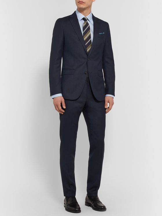 Hugo Boss Navy Ben Slim-Fit Virgin Wool Suit Trousers