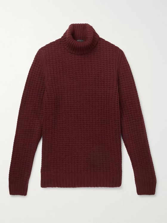 Hugo Boss Waffle-Knit Virgin Wool and Alpaca-Blend Rollneck Sweater