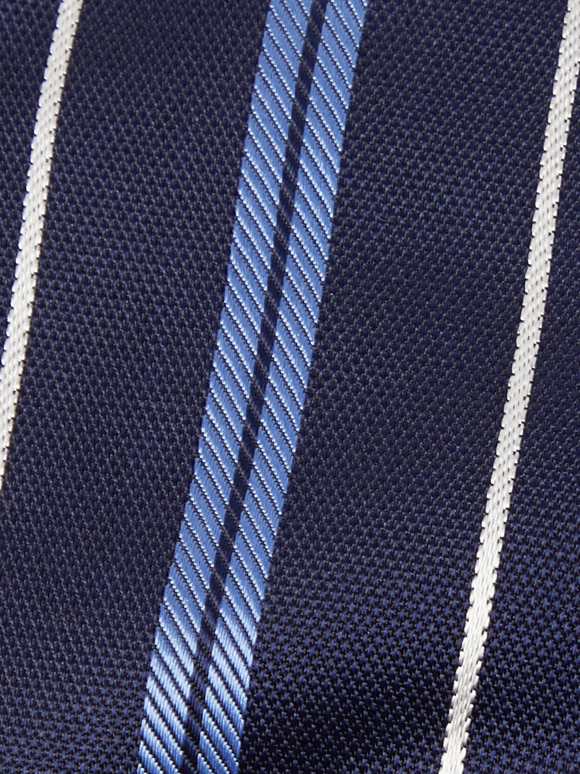 Hugo Boss Navy White Striped Knitted Tie
