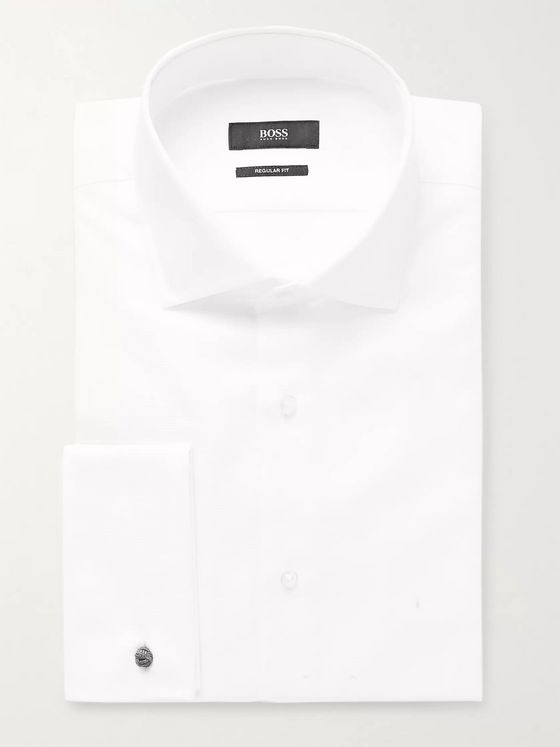 Hugo Boss White Double-Cuff Cotton-Piqué Shirt