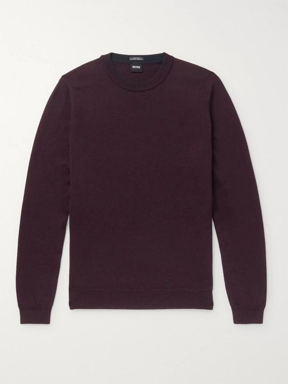 Hugo Boss Gavino Contrast-Tipped Mélange Virgin Wool Sweater