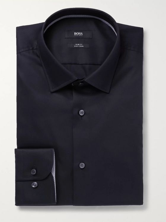 Hugo Boss Navy Jessi Slim-Fit Cotton-Poplin Shirt