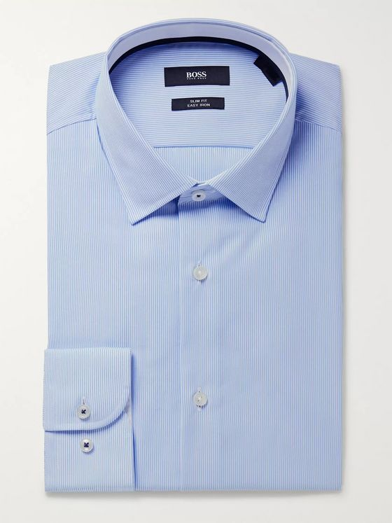Hugo Boss Light-Blue Joam Striped Cotton Shirt