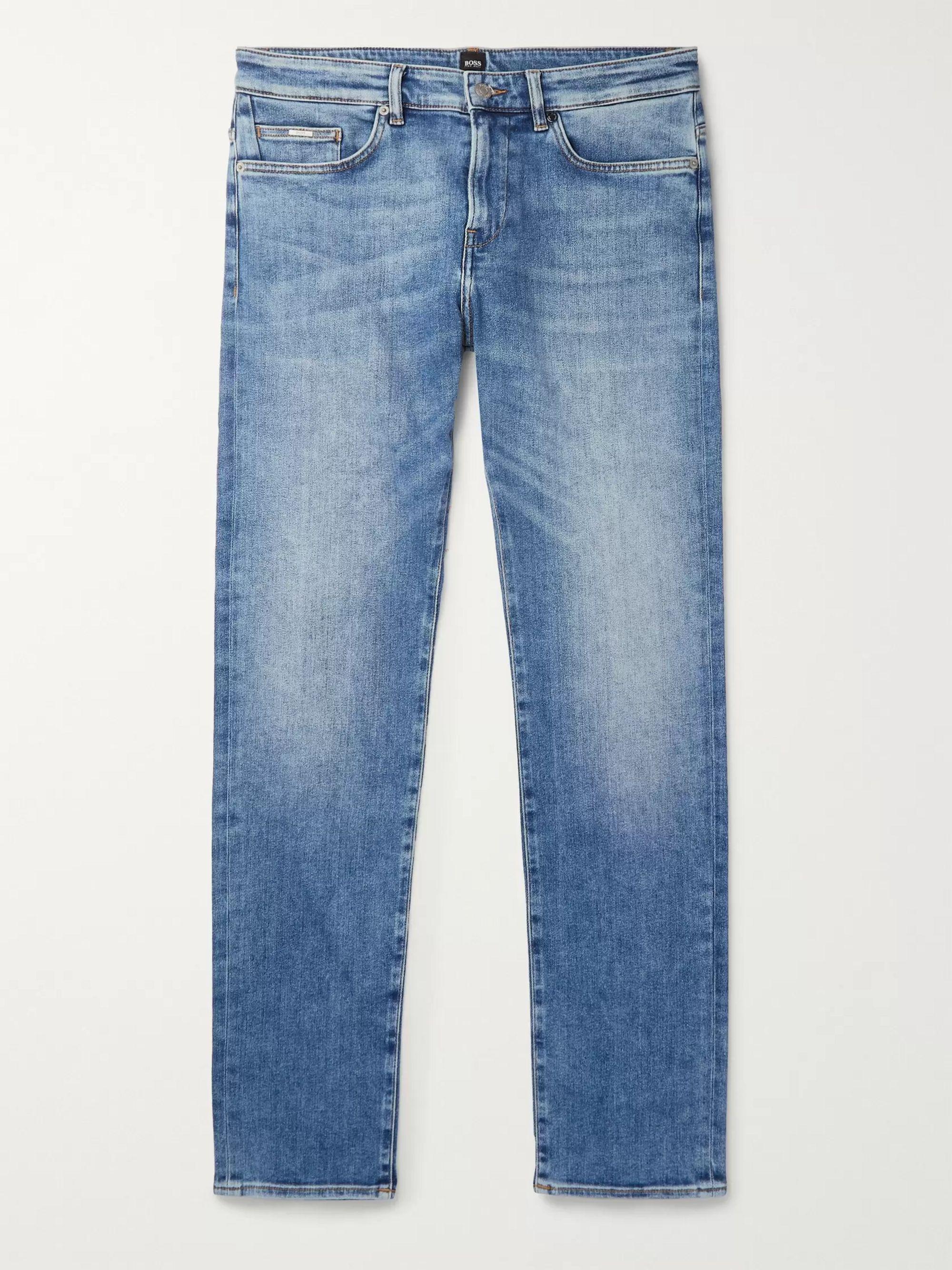 Hugo Boss Mid denim Delaware Slim-Fit Stretch-Denim Jeans,Mid denim
