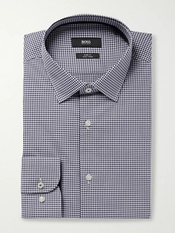 Hugo Boss Slim-Fit Gingham Cotton-Poplin Shirt