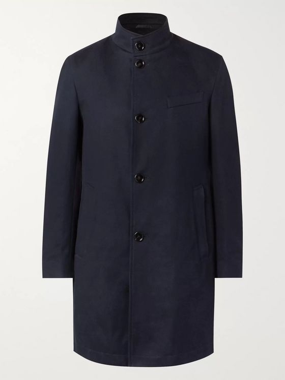 Hugo Boss Chanty Slim-Fit Textured-Cotton Coat