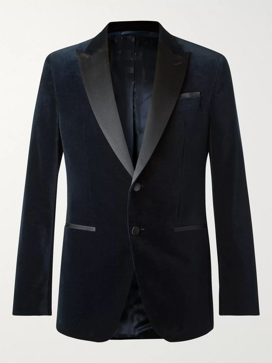 Hugo Boss Navy Helward Slim-Fit Satin-Trimmed Cotton-Velvet Tuxedo Jacket