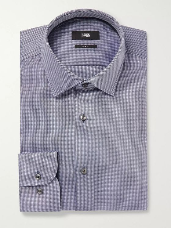 Hugo Boss Navy Jesse Slim-Fit Jacquard-Trimmed Cotton-Poplin Shirt