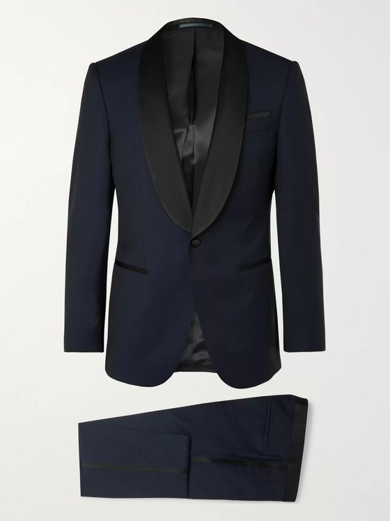 Hugo Boss Navy Henry Slim-Fit Silk-Satin Trimmed Virgin Wool Tuxedo
