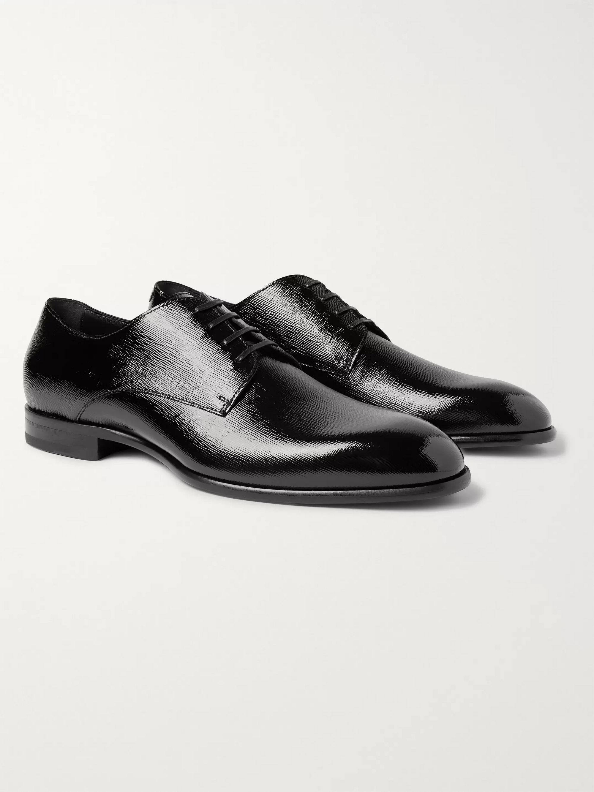 Hugo Boss Cannes Cross-Grain Leather Derby Shoes