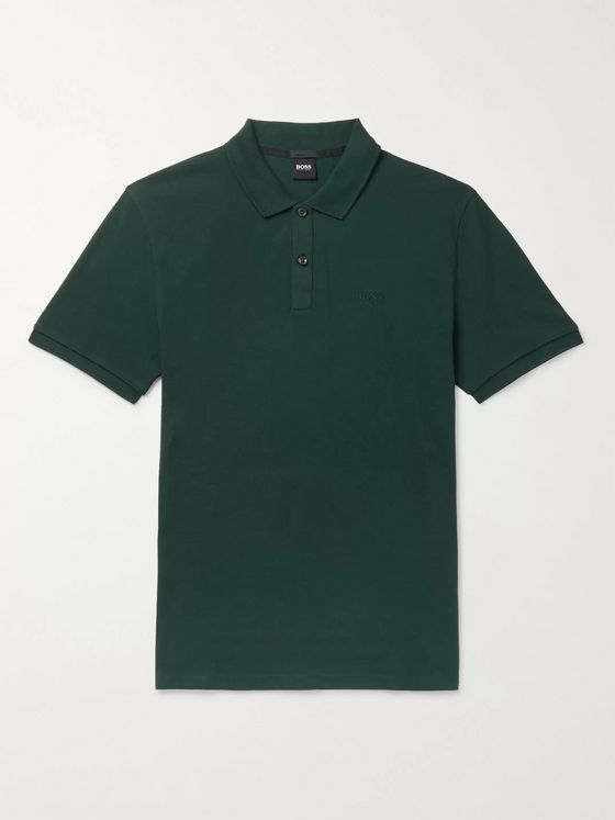 Hugo Boss Pallas Mélange Cotton-Piqué Polo Shirt