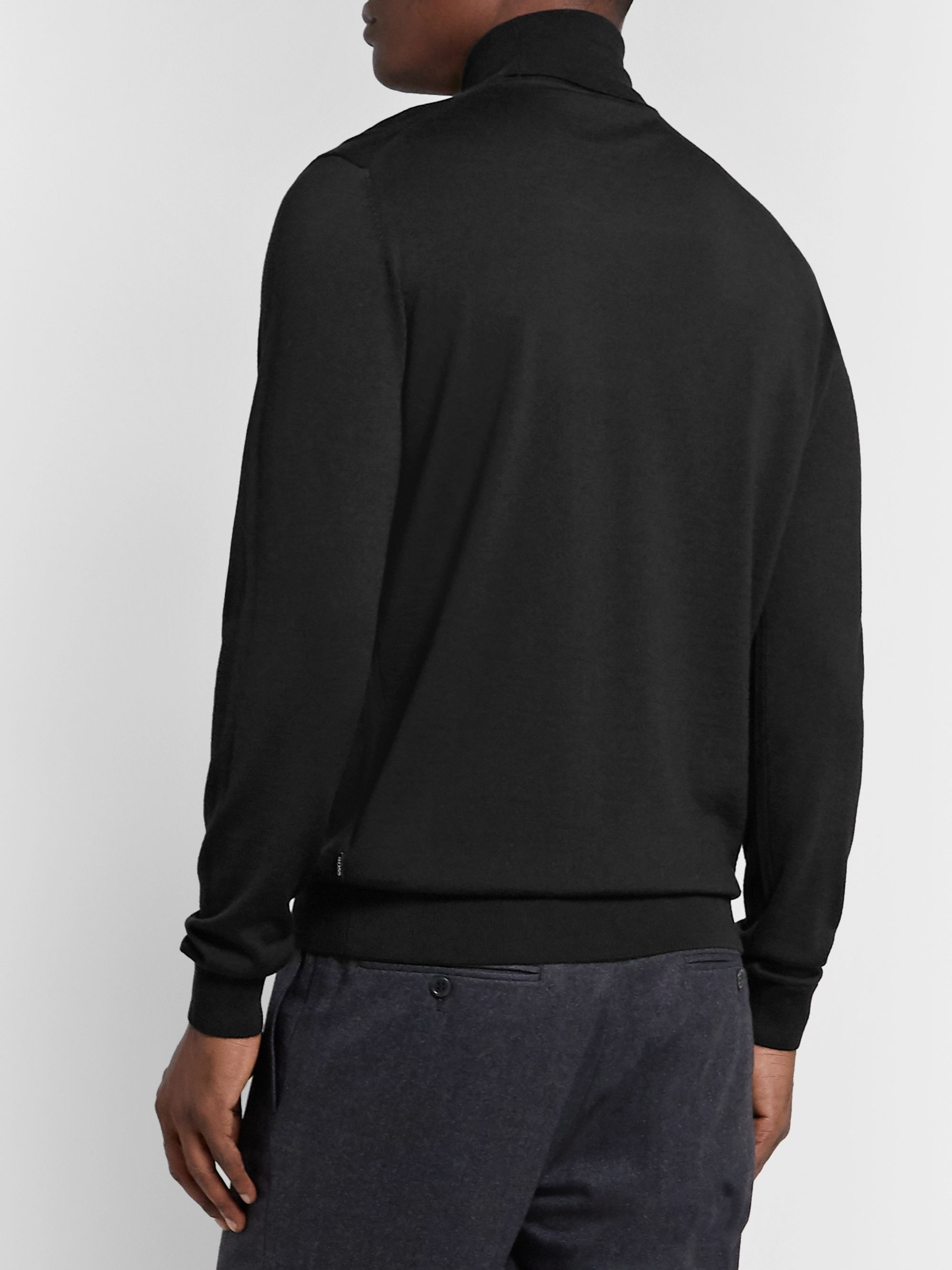 Hugo Boss Slim-Fit Wool and Silk-Blend Rollneck Sweater