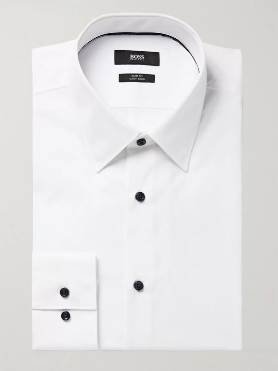 Hugo Boss White Jano Slim-Fit Cotton-Poplin Shirt
