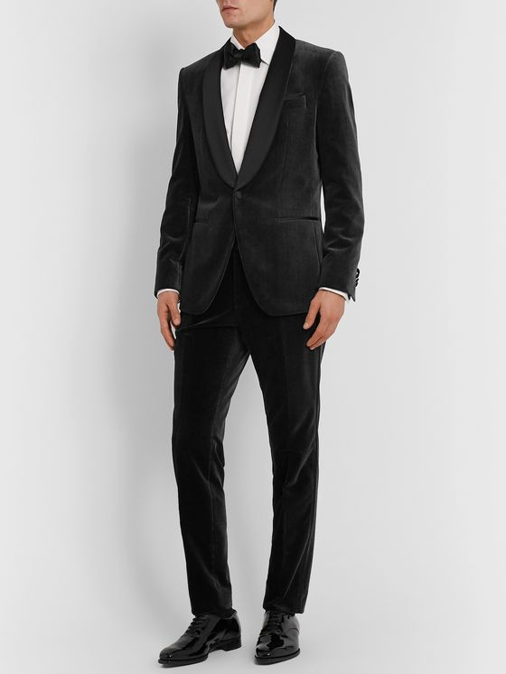 Hugo Boss Black Henry Glow Slim-Fit Satin-Trimmed Cotton-Corduroy Tuxedo