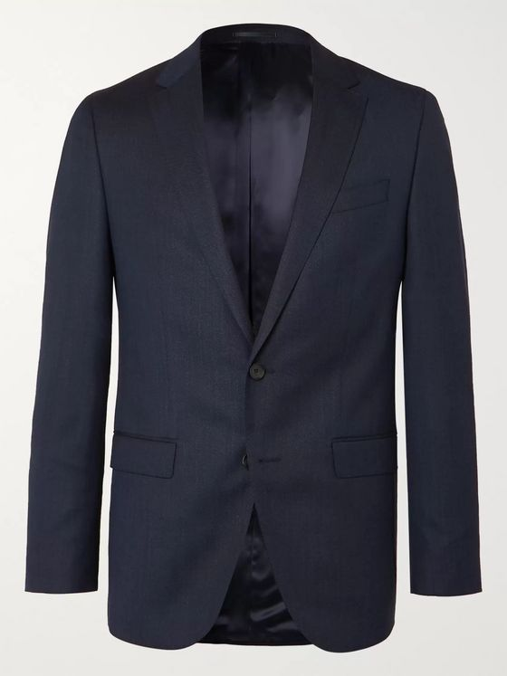 Hugo Boss Navy Novan Slim-Fit Virgin Wool Suit Jacket