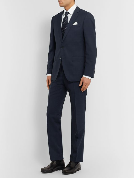 Hugo Boss Navy Slim-Fit Checked Virgin Wool Suit