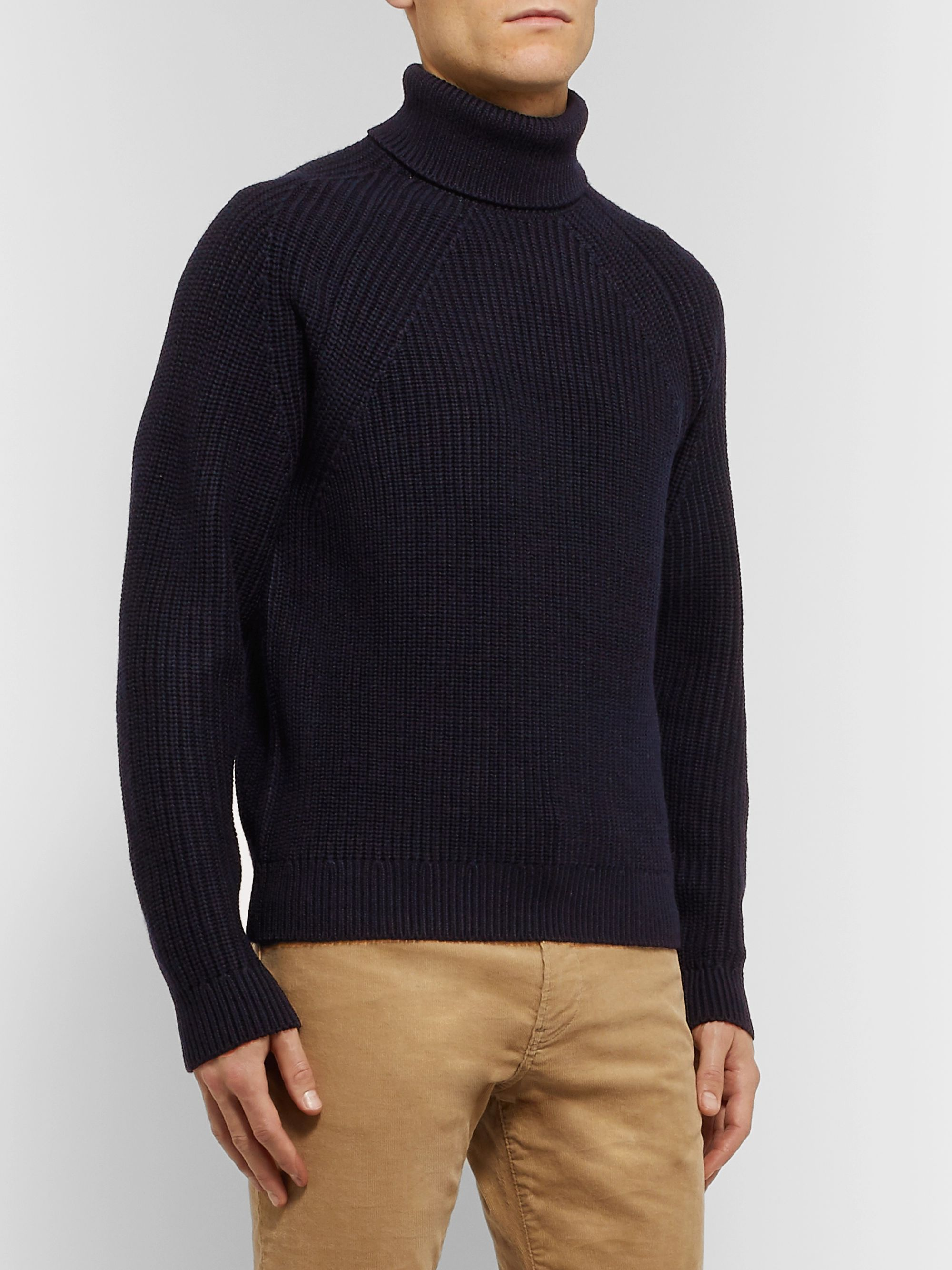 Hugo Boss Ribbed Virgin Wool Rollneck Sweater
