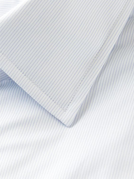 Hugo Boss Sky-Blue Travel Line Slim-Fit Striped Cotton Shirt
