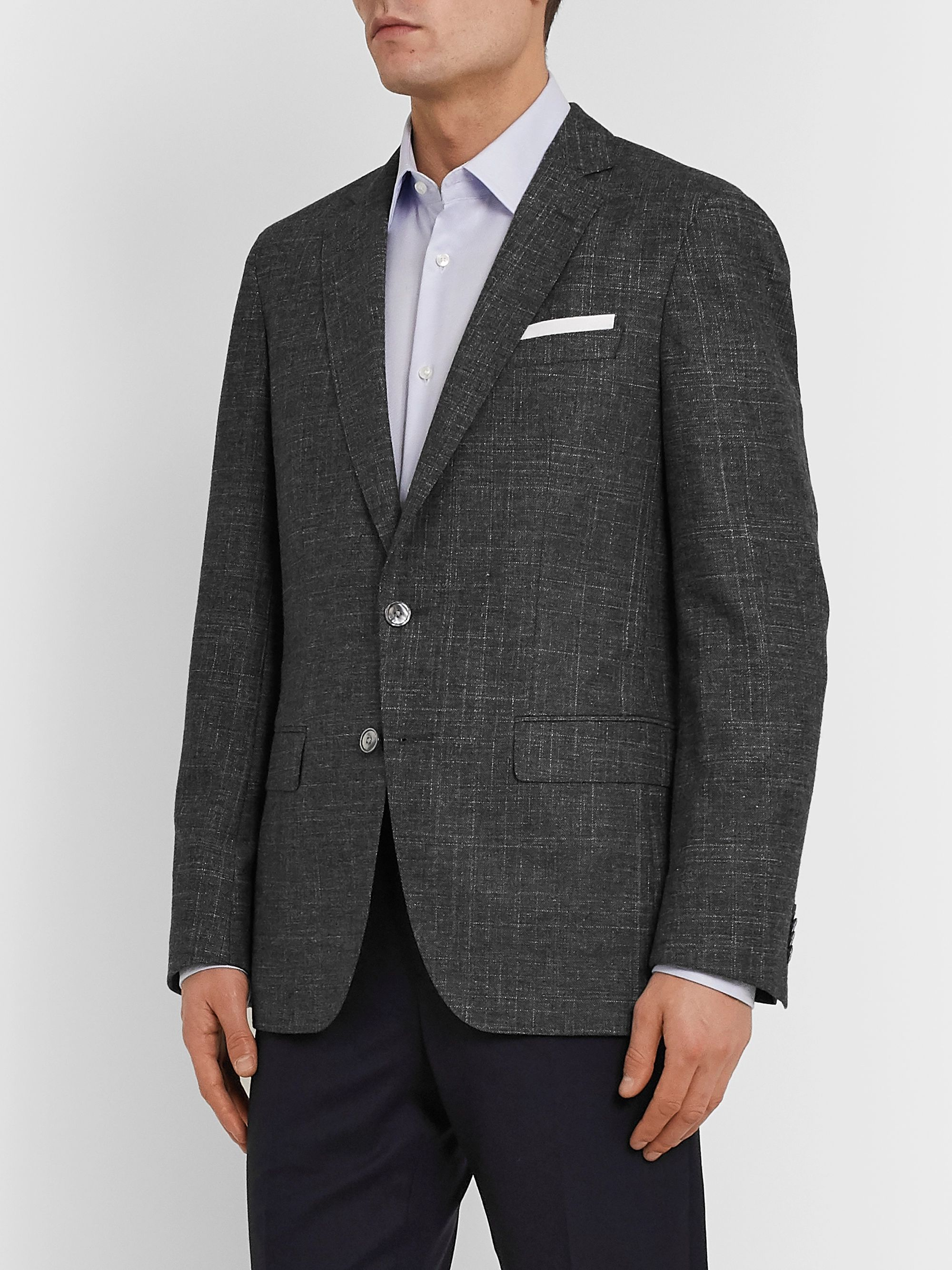 Hugo Boss Grey Hartley Slim-Fit Mélange Woven Blazer