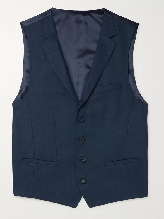Hugo Boss Navy Ben Slim-Fit Virgin Wool Waistcoat