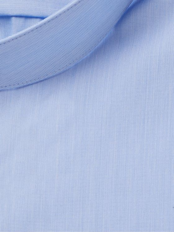 Hugo Boss Sky-Blue Jordi Slim-Fit Grandad-Collar Stretch Cotton-Blend Shirt