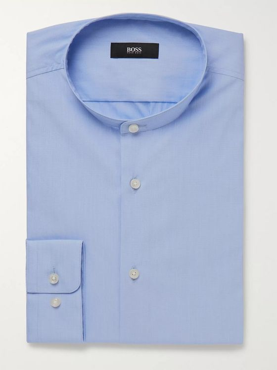 Hugo Boss Grey Jordi Slim-Fit Grandad-Collar End-on-End Cotton-Blend Shirt