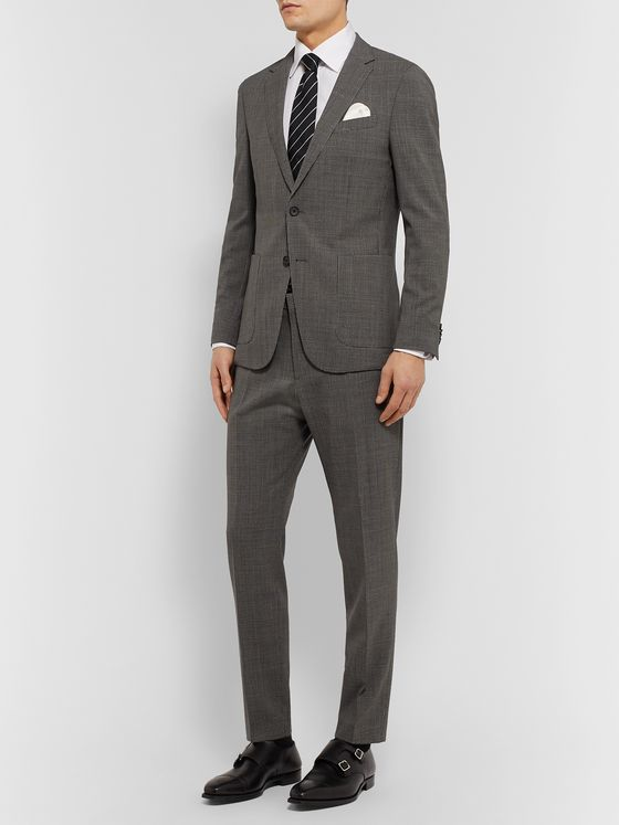 Hugo Boss Grey Slim-Fit Puppytooth Virgin Wool Suit
