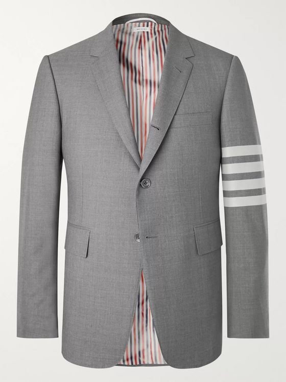 Thom Browne Grey Slim-Fit Striped Wool Suit Jacket