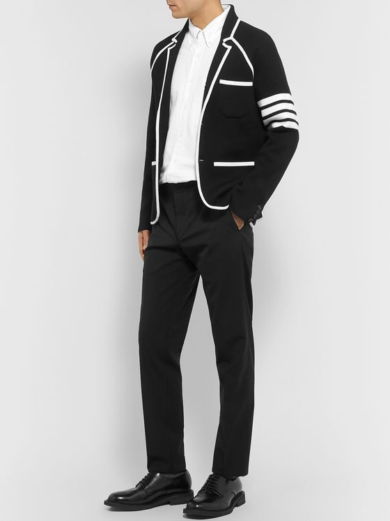 Thom Browne Slim-Fit Contrast-Trimmed Striped Wool Blazer