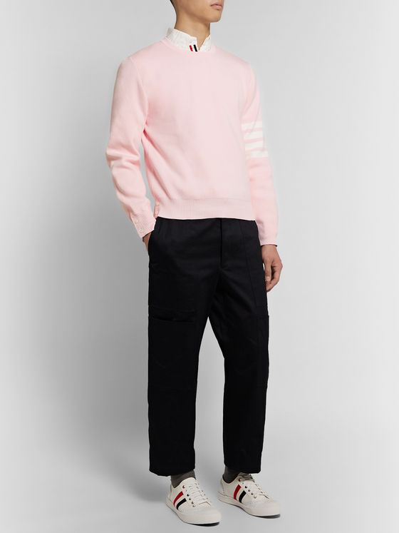 Thom Browne Striped Grosgrain-Trimmed Cotton Sweater
