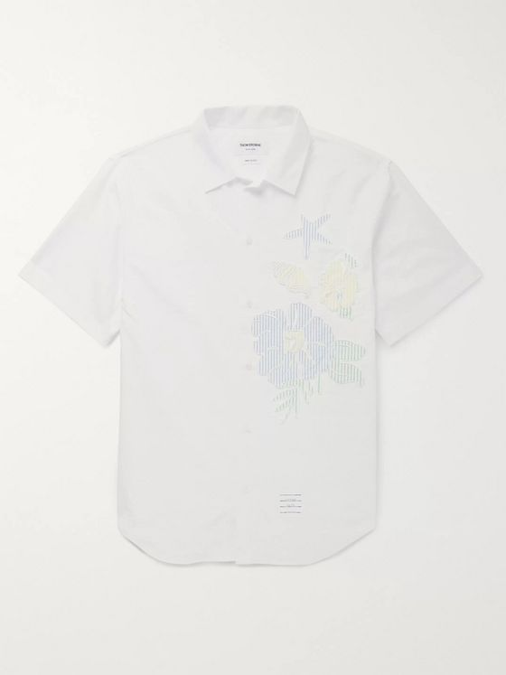 Thom Browne Appliquéd Cotton Oxford Shirt