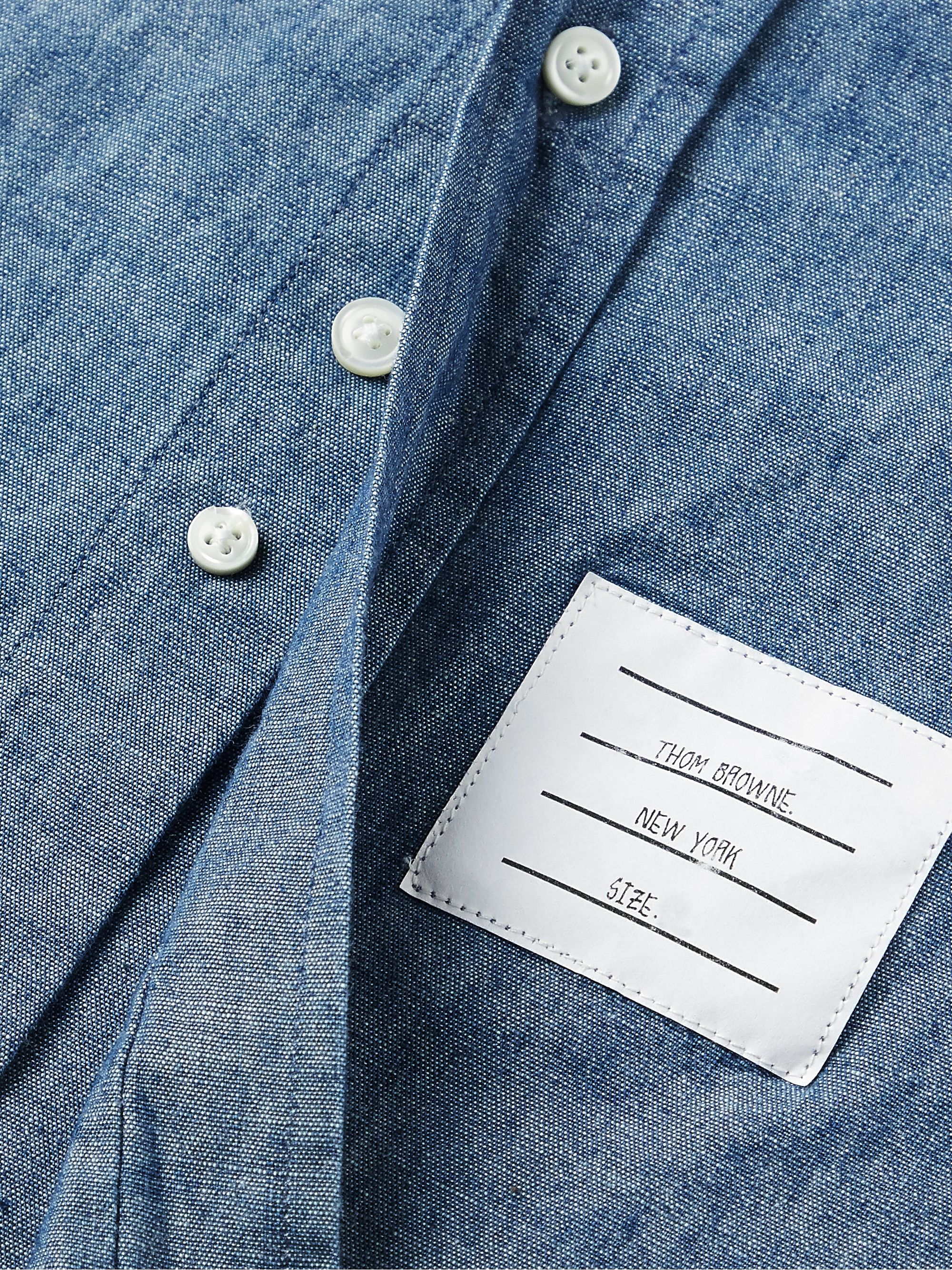 Thom Browne Button-Down Collar Striped Cotton-Chambray Shirt