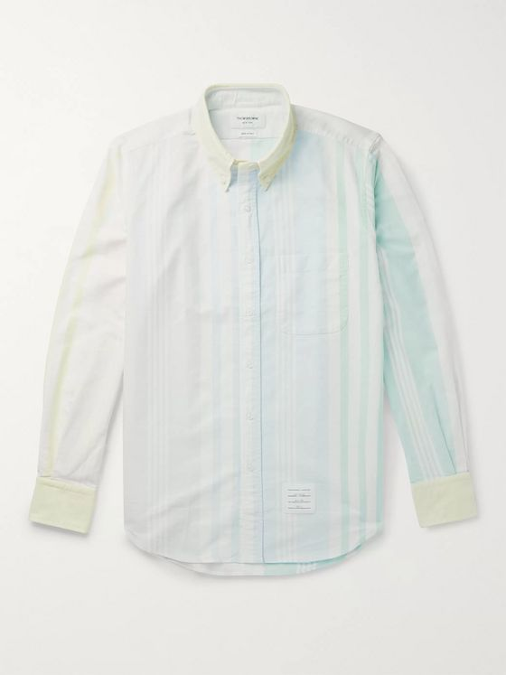 Thom Browne Fun Mix Button-Down Collar Striped Cotton Oxford Shirt