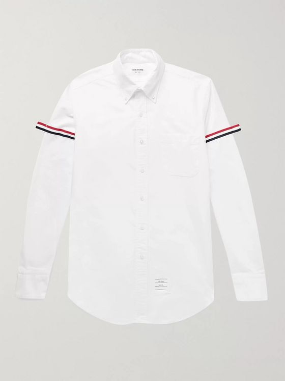 Thom Browne Slim-Fit Button-Down Collar Grosgrain-Trimmed Cotton Oxford Shirt