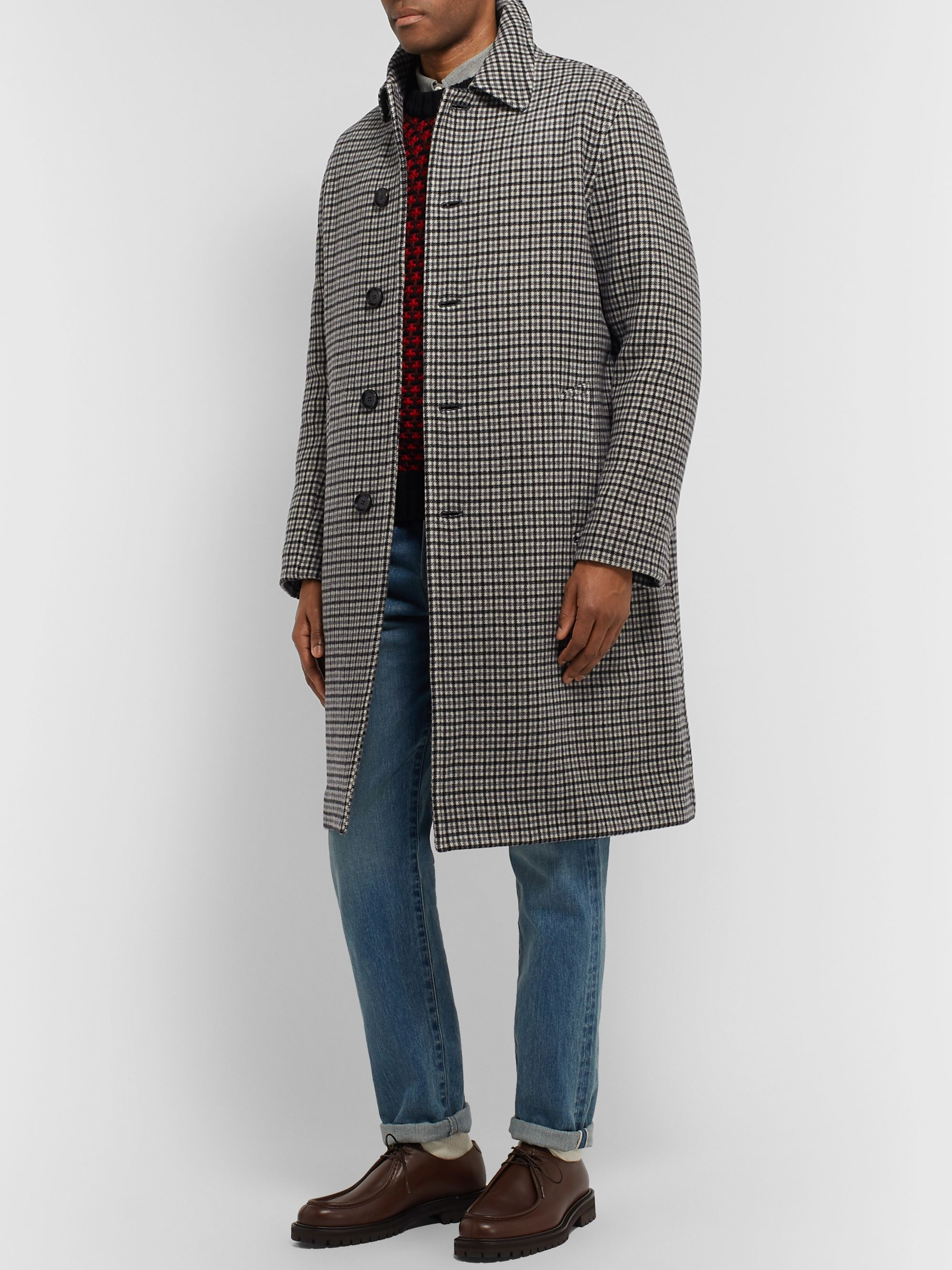 Mr P. Checked Wool Overcoat