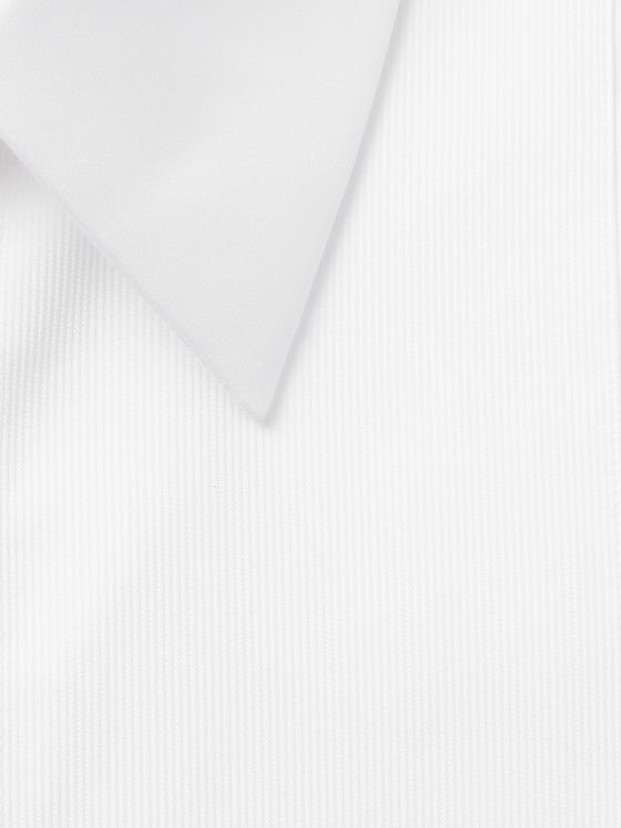 Mr P. White Slim-Fit Bib-Front Cotton Tuxedo Shirt