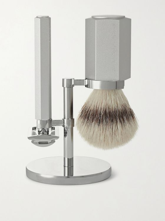 Mühle Three-Piece Chrome-Plated and Anodised Aluminium Hexagon Shaving Set