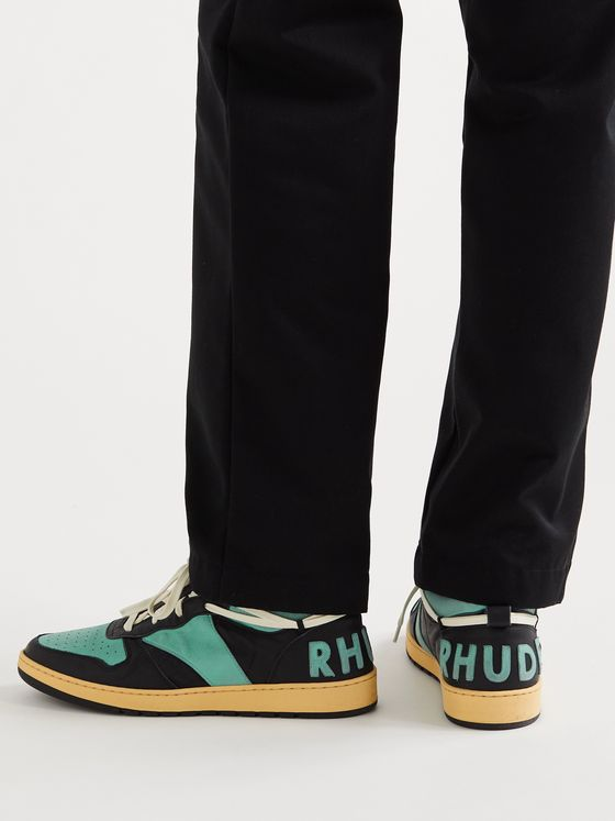 RHUDE Rhecess Distressed Leather Sneakers