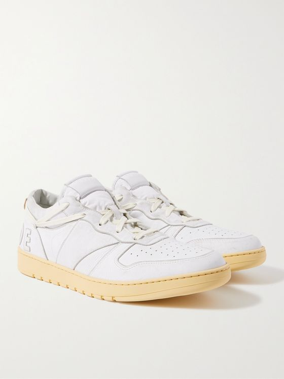 RHUDE Rhecess Logo-Appliquéd Distressed Leather Sneakers