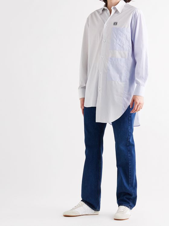 LOEWE Asymmetric Logo-Embroidered Pinstriped Cotton-Poplin Shirt